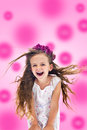 Pinky happy shouting girl Royalty Free Stock Photo