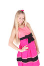 Pinky pretty coquette teenage girl in the pink dress Stock Photography