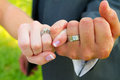 Pinky swear wedding rings bride and groom with their hands together and their fingers interlocked for this unique color image of Royalty Free Stock Images