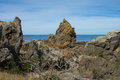 Pinnacle rocks rugged southern coast wellington nz the rock formations are common on these exposed coastlines Stock Image