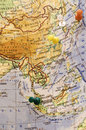 Pinned asian cities destination tokyo seoul shanghai and singapore on an atlas map Stock Photo