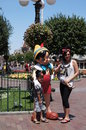 Pinocchio posing with family on main street at disneyland in california Royalty Free Stock Photography