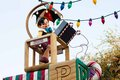 Pinocchio waves and rides on a float in disneyland parade is riding top of the giant toy factory s christmas fantasy very popular Royalty Free Stock Photos