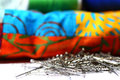Pins and patchwork quilt a photograph of sewing in front of Stock Photo