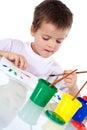 Pintura concentrada menino Imagem de Stock Royalty Free