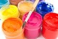 Pinturas e pincel Imagens de Stock