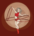 Pinup circus artist. silhouette, inkpen. hooper Royalty Free Stock Photo
