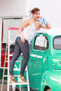 Pinup Girl Retro Truck Wash Royalty Free Stock Photo