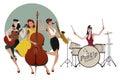 PinUp Girls Band. Four beautiful and tattooed pinup girls playin