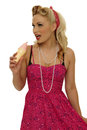 Pinup picture of beautiful with ice cream in studio Royalty Free Stock Image