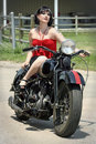 Pinup Woman And Motorcycle