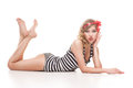 Pinup woman in striped suit on white beautiful retro background Stock Image