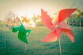 Pinwheel in the garden with retro filter Royalty Free Stock Photo