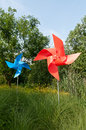Pinwheel on the meadow at sunny day Stock Photos