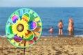 Pinwheel Toy On Beach, Family ...