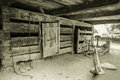 Pioneer farm interior of a barn in the great smoky mountains national park this is a public display on federal lands and is not Royalty Free Stock Photography