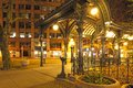 Pioneer square in Seattle at early spring night. Empty street. Stock Photography