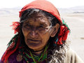 The pious old tibetan china s tibet devout tibetans in sacred lake near holy mountain Stock Images