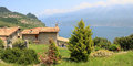 Piovere village and lookout to garda lake italy Stock Images