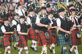 Pipe bands at Nairn. Royalty Free Stock Photo