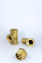 Pipe fitting brass on white background Royalty Free Stock Photos