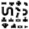 Pipe fittings vector icons set Royalty Free Stock Photo