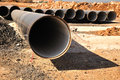 Pipe hole big pipes on the ground at construction site Royalty Free Stock Photos