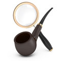 Pipe and magnifying glass Royalty Free Stock Images
