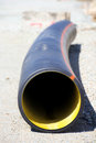 Pipe plastic sewage corrugated flexible on the ground Royalty Free Stock Photography