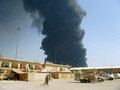 Pipeline attack baghdad insurgents attacked a oil in southern iraq photo taken from fob falcon Stock Image