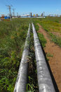 Pipeline and storage tanks Royalty Free Stock Photo