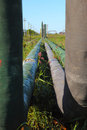Pipeline and storage tanks Royalty Free Stock Photos