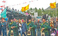 Pipers playing at Braemar Royal Gathering Stock Photography