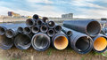 Pipes in construction site Royalty Free Stock Photo