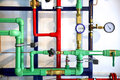 Pipes and heating system demo colored as a background Stock Photos