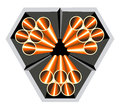 Pipes logo abstract illustration copper arranged in reinforced concrete casings Stock Image