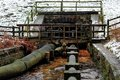 Pipework timber bridge over the Royalty Free Stock Images