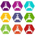 Pipiline gas icons set 9 vector Royalty Free Stock Photo