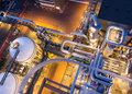 Piping system from above in industrial plant Royalty Free Stock Photo