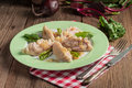 Piquant pierogi with beetroot and cheese filling a Stock Photography