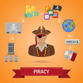 Piracy Concept with Pirate Royalty Free Stock Photo