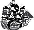 Piracy ship rossed bones Royalty Free Stock Images