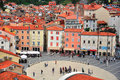 Piran old town slovenia september people goes by the main square of city on september is a city resort in the west of Stock Image