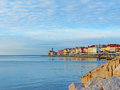 Piran s coastline clear blue sky and the colourful Royalty Free Stock Photo
