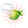 A piranha with an empty callout illustration of on white background Royalty Free Stock Images