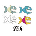 Piranha fish illustration of in different graphic styles vector illustration Royalty Free Stock Images