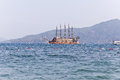 Pirat toat in a calm bay. Aegean Sea. Turkey Royalty Free Stock Photo