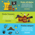 Pirate attribute banner horizontal set, flat style Royalty Free Stock Photo