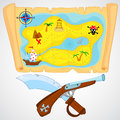 Pirate attributes handgun sword and detailed treasure map Stock Image
