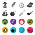 Pirate, bandit, ship, sail .Pirates set collection icons in monochrome,flat style vector symbol stock illustration web. Royalty Free Stock Photo